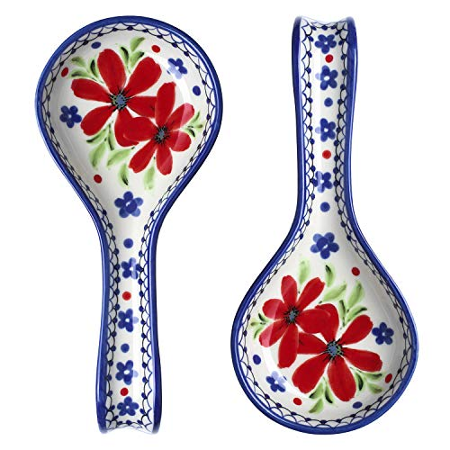 DOWAN Spoon Rest 2 Sets, Spoon Rest for Kitchen, Modern Farmhouse Spoon Holder for Stovetop Countertop, Ceramic Colorful&Classical Decor Spoon Rest