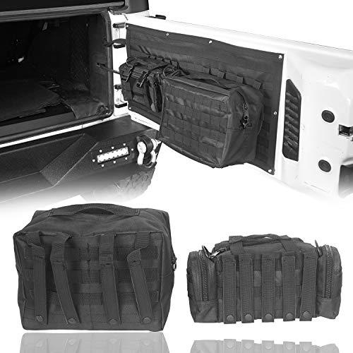 Hooke Road JK Wrangler Tailgate Storage Bags Back Door Cargo Organizer Kit for 2007-2018 Jeep JK...