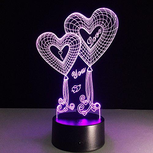 3d Colorful LED romántica luz nocturna Touch Control luces decoración para boda, San Valentín, regalo de cumpleaños regalo de Navidad para niña y Boy Kids doble forma de corazón I Love You