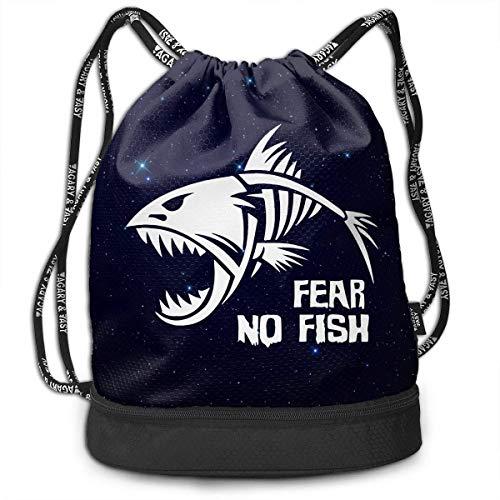 AllenPrint Sporttasche Rucksack,Fear No Fish Drawstring Gym Bag, Stilvolle Drawstring Cinch Taschen Für Drawstring Cinch Taschen,39x41x17.5cm