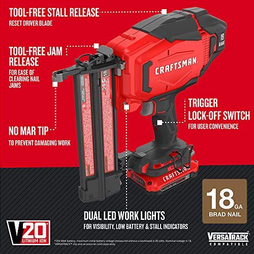 CRAFTSMAN V20 Cordless Brad Nailer Kit, 18GA (CMCN618C1)