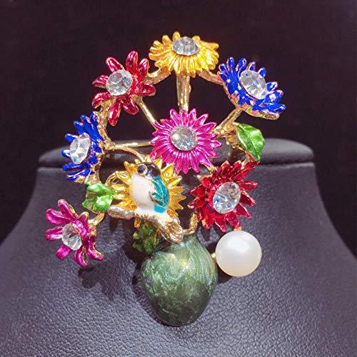 THTHT Natural Freshwater Pearl Brooch Vase Flower Enamel Brooch Pins Pearl Jewelry For Women