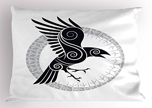 Printawe Raven Pillow Sham, Bird Abstract Celtic Style Inside Runic Circle Design, Decorative Standard Queen Size Printed Pillowcase, 30' X 20', Black Pale Grey and White