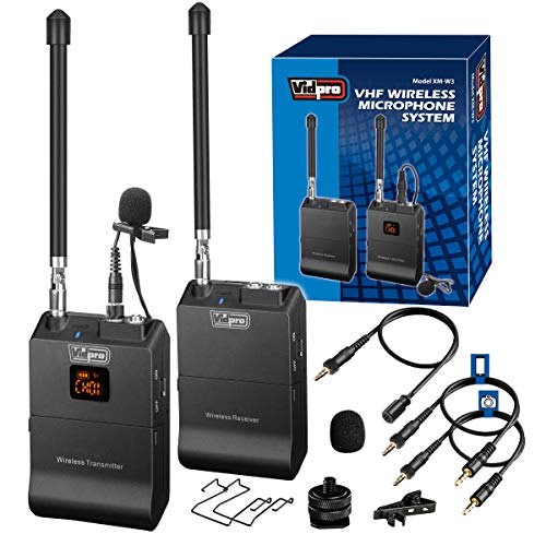 of vidpro wireless mics Vidpro XM-W3 12-Channel VHF Wireless Lavalier Microphone System for DSLRs, Cameras, Video, Camcorders, Audio Recorders and Smartphones. Perfect for Interviews and Live Recording
