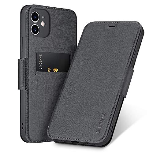 ELESNOW Funda para iPhone 11, Carcasa de Cuero con Cierre Magnético y Tarjetero para Apple iPhone 11 6.1 Pulgada (Negro Oscuro)
