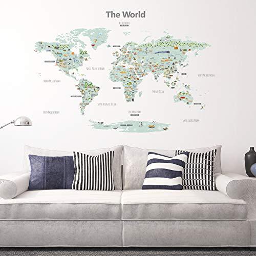 DECOWALL DLT-1902 Carte du monde de Point de repère Landmark Autocollants Muraux Mural Stickers Chambre Enfants Bébé Garderie Salon