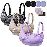 Rovtop 3 PCS Sujetador de Lactancia para Mujer de Sujetador de Maternidad sin Costuras Hebilla Acolchada y Extendida (L)