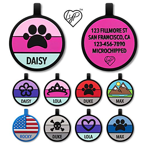 Love Your Pets Soundless Pet Tag - Designer Deep Engraved Silicone – Double Sided and Engraving Will Last - Many Design Choices of Pet ID Tags, Dog Tags, Cat Tags (Hot Pink, Paw)