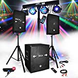 Pack SONO DJ PARTY BM SONIC BMS-1512 USB Bluetooth 2 ENCEINTES + SUB + Pack Light EUPHORIA pour Mariages, salle des...