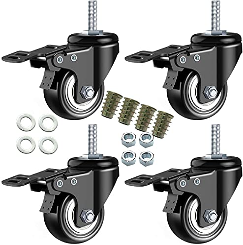 LENVA Lenkrollen M10, 50MM Schwerlastrollen mit Bremse, Rollen M10 für Möbel, Transportrollen Tragkraft 150KG, Doppellager und Schlösser No Noise