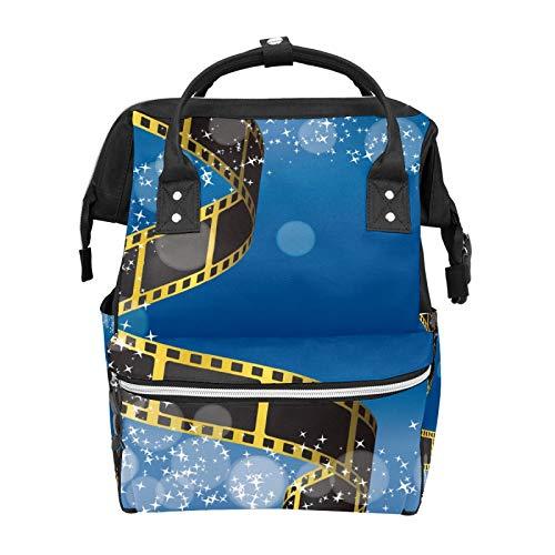 Película Negativa Fondo Azul Mochila Escuela Gran Capacidad Momia Bolsos Portátil Bolso Casual Mochila de Viaje Satchel para Mujeres Hombres Adultos Adolescentes Niños