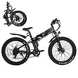 KAISDA 26 Zoll Faltbares Fettreifen Elektrofahrrad/E-Bike Fat Tire Snow Ebike 500W Mountain/Schnee E-Bike Faltbares Fettreifen Elektrofahrrad mit 48V 10Ah Abnehmbarer Akku Erwachsene Herren Damen