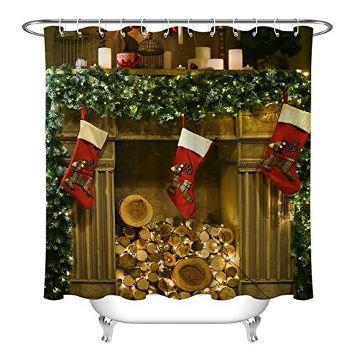 bbbbbb Weihnachtskamin Brennholz Strumpf Girlande Duschvorhang Badezimmer Dekoration