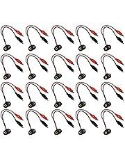 Fafeicy 20Pcs Conector a presión de la batería al cable de clip de cocodrilo Cable conductor Negro Rojo Cables Sonda 9V 15cm Longitud