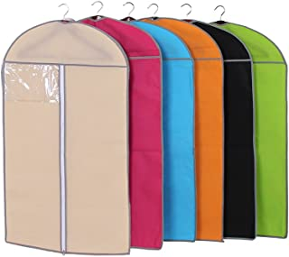Garment Bags for Storage,Set of 6 Multiple Color Non Woven Fabric Breathable Garment Covers, Window for Viewing, Anti-Moth Protector Dust Cover Storage Bag Case for Clothes 23.6