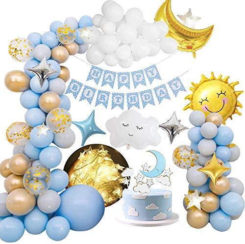 MMTX Decorazioni per Feste di Compleanno Ragazzi, Palloncini per Feste Decorazione con Happy Birthday Striscione, Palloncino Foil di Nuvole di Luna lunare Stella,per la Prima Festa 2 16 Compleanno