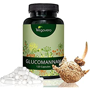 Glucomannan by Vegavero | 3000 mg Per Daily Dose | Konjac Root Fibre | Soluble Fibre Similar to Psyllium Husk | 120 Capsules | Vegan Society Approved | Made in Germany