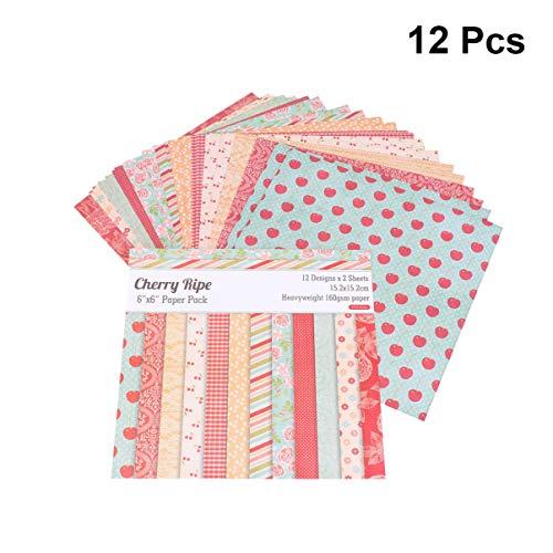 HEALLILY 24 Blatt Einklebebuchpapier Block Kirsche Reifes Musterpapier Einseitiges Einklebebuchdekorpapier Kartonpapier für DIY-Einklebebuchfotoalbum