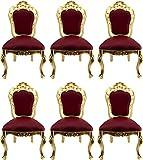Casa Padrino Conjunto de sillas de Comedor Barroco de Lujo Rojo Burdeos/Oro - 6 Sillas de Comedor Hechas a Mano con Aspecto de Cuero - Muebles de Comedor barrocos
