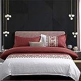 WANGCAN Bettbezug Bettwäsche-Set,mit Betttuch Kissenbezug in viele Farbe,Einfaches dreiteiliges C-4 220 * 240cm + 48 * 74 * 2cm