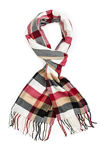 Plum Feathers Super Soft Luxurious Cashmere Feel Winter Scarf (White-Red Plaid)