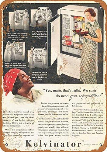 ALIALI KFQCIO 1935 Kelvinator Frigoriferi Targa in metallo da parete in stile retrò, decorazione da parete, cortile familiare, bar, ristorante, negozio di gas, 30,5 x 20,3 cm