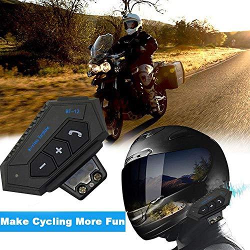 QUUY Casco de la Motocicleta Auricular, Intercomunicador Auricular Resistente al Agua Bluetooth Interphone Sistema de comunicación Multifuncional Cómodo Auricular inalámbrico Bluetooth