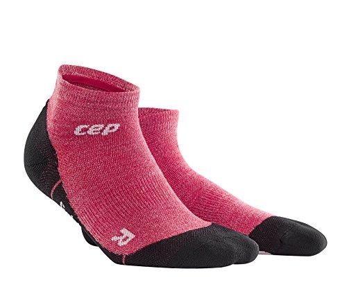 CEP – Hiking Light Merino Low Cut Socks für Damen | Wandersocken aus Merinowolle mit Kompression in pink | Größe III