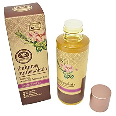 Relaxing Aromatic Massage Oil from Thailand (3.5 oz) - 100% Natural Active Ingredient - Oils (Sesame Seed,Turmeric,Ylanf Ylang Flower, Lavende,Geranium FloweR, Lime Peel)- Great Gift for Mother's Day.