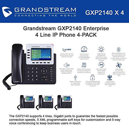 Grandstream GXP2140 4-Line IP Phone, 4.3 LCD, PoE, Bluetooth. Bundle of 4