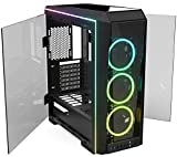 Mini Tower Computer Case HS-12 PC Computer Case with Tempered Glass, Pre-Installed RGB Fan with 10 Backlit Modes and LED Light Strip, 240mm AIO and 331mm VGA Support, Bottom Mount PSU