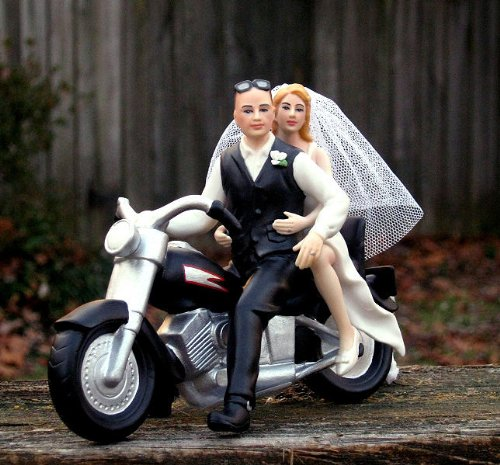 Biker Couple with Bald Groom