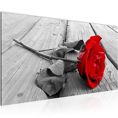 Bilder Blumen Rose Wandbild Vlies - Leinwand Bild XXL Format Wandbilder Wohnzimmer Wohnung Deko Kunstdrucke Rot 1 Teilig - MADE IN GERMANY - Fertig zum Aufhängen 204412a