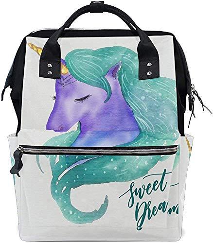 Bookbag mooie aquarel-eenhoorn met tekst Sweet Dreams Print luiertas Mom stijlvol waterdicht Mummy Backpack Baby Mummy Bag rugzak verzorging Dad luier draagtassen grotere pet
