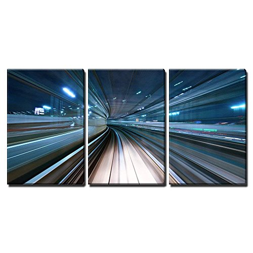 wall26 - 3 Piece Canvas Wall Art - Motion Blur of a City and Tunnel from Inside a Moving Monorail in Tokyo. - Modern Home Art Stretched and Framed Ready to Hang - 16