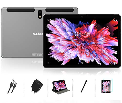 Tablette Tactile 10 Pouces Android 10 MEBERRY - 64Go, 4Go de RAM Tablette , GPS, WiFi, Bluetooth, Type-c - 5.0+8.0 MP Caméra - Corps en Métal Gris
