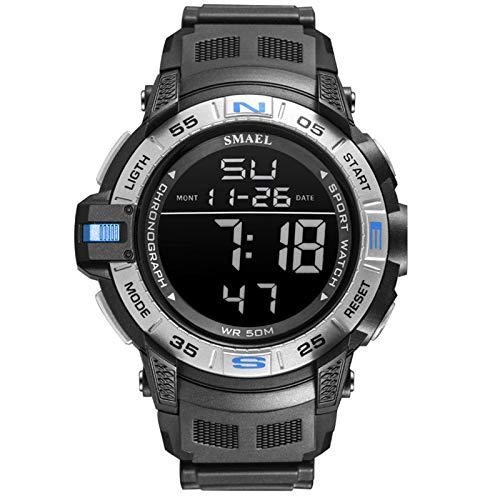 QZPM Relojes Deportivos para Hombre Resistente Al Agua Digital Multifuncional Grande De La Cara Militar Alarma Outdoor Deportivo Reloj,Azul