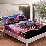 Woodland - Juego de sábanas de cama para niños y niñas, diseño de árbol natural, color rojo, azul y negro