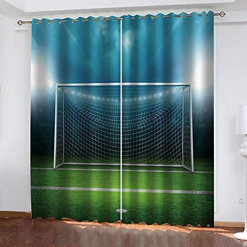 wangcheng1 Fußballtor Blickdichte Gardinen Verdunkelungsvorhang - Lichtundurchlässige Vorhang mit Ösen für Schlafzimmer Geräuschreduzierung 2er Set 168X183cm(BxH)