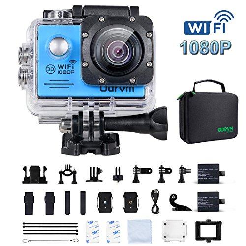 WiFi Actioncam Full HD 1080P Unterwasserkamera Digital Wasserdicht 2.0 Zoll LCD Helmkamera mit 2 Stü. Batterien, Action cam für Kinder, Extremsport und Outdoor-Sportaktivitäte (BLAU)