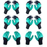 6 Pairs Garden Genie Gloves with Fingertips Claws, Best Safe Gardening Tool, Ideal Gifts for Parents and Gardeners, Perfect for Digging Weeding Seeding Poking Planting(Bonus the Gift Card)
