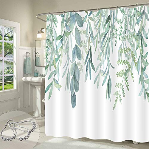 """Gibelle Green Plant Leaves Shower Curtain, Spring Watercolor Eucalyptus Leaf Succulent Botanical Floral Shower Curtain, Cottagecore Country Decorative Waterproof Fabric Bathroom Decor, 72"""" W x 72"""" L"""