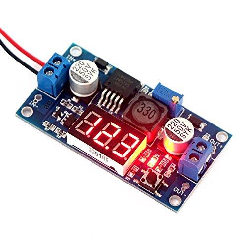 DollaTek LM2577 convertidor del Alza DC 3-34V 4-35V a 5V / 12V Paso Ascendente Ajustable voltios Regulador con el módulo de Fuente de alimentación del Monitor LED Rojo del voltímetro del Volta