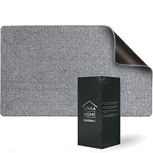 """Linka Home Durable Indoor Doormat for Entrance 27.2""""x 19.7"""" - Super Absorbent Rug for Entryway - Soft and Washable Gray Door Mat Inside Non Slip - Low-Profile Front Door Rug with Rubber Backing - Gray"""