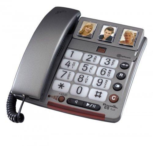 Amplicom PowerTel 68 plus Grosstastentelefon (3 Fototasten) mit Anrufbeantworter