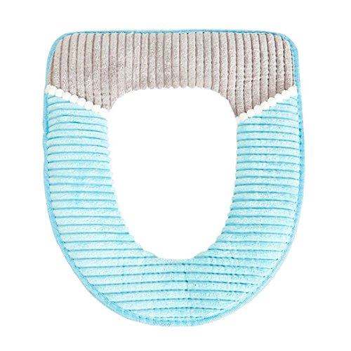 Hunpta Housse de siège de toilette, protection de salle de bain douce et chaude toutes formes (Bleu)