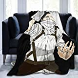 EISVALAYA Levi Ackerman Attack on Titan Flannel Throw Blanket Lightweight All-Season Fluffy Warm Cozy Plush Microfiber for Bed Couch Sofa Office Camping, Medium 60in50in