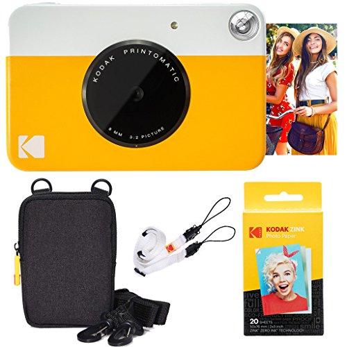KODAK Printomatic Sofortbildkamera (Gelb) Basis-Paket + Zinkpapier (20 Blätter) Etui + Bequemer Halsriemen