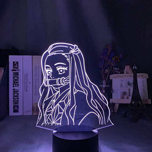 Demon Slayer Kamado Nezuko anime 3D night light with remote control 16 colors LED touch lamp table lamp bedroom decoration lamp children's gift