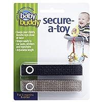 Baby Buddy セキュア-ア-トイ、安全ストラップでおもちゃやおしゃぶりをベビーカー、ハイチェア、車のシートに固定、おもちゃを清潔に保つために長さ調節可能 ブラック-タン カウント ブラック/タン